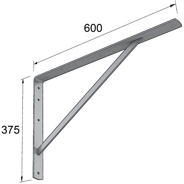 HEAVY DUTY SHELF BRACKET 600x375mm/150kg  GREY